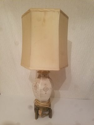 Porceline Lamp with Brass Base