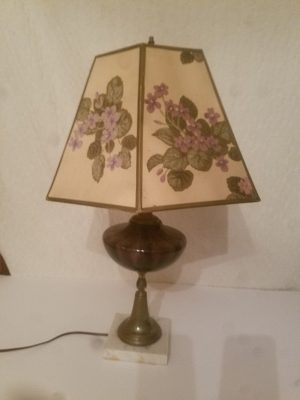 Purple Blown Glass Lamp with Marble Base